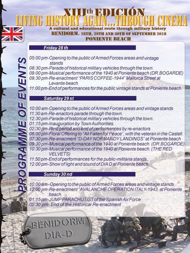 Normandy landing in Benidorm: programme