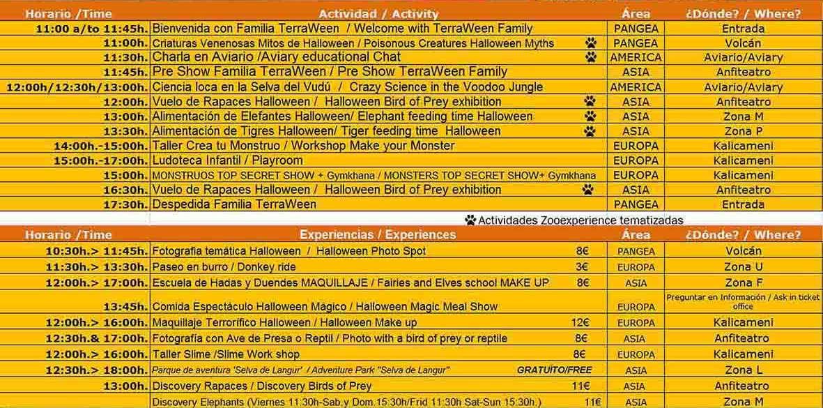 Terra Natura Halloween: Программа