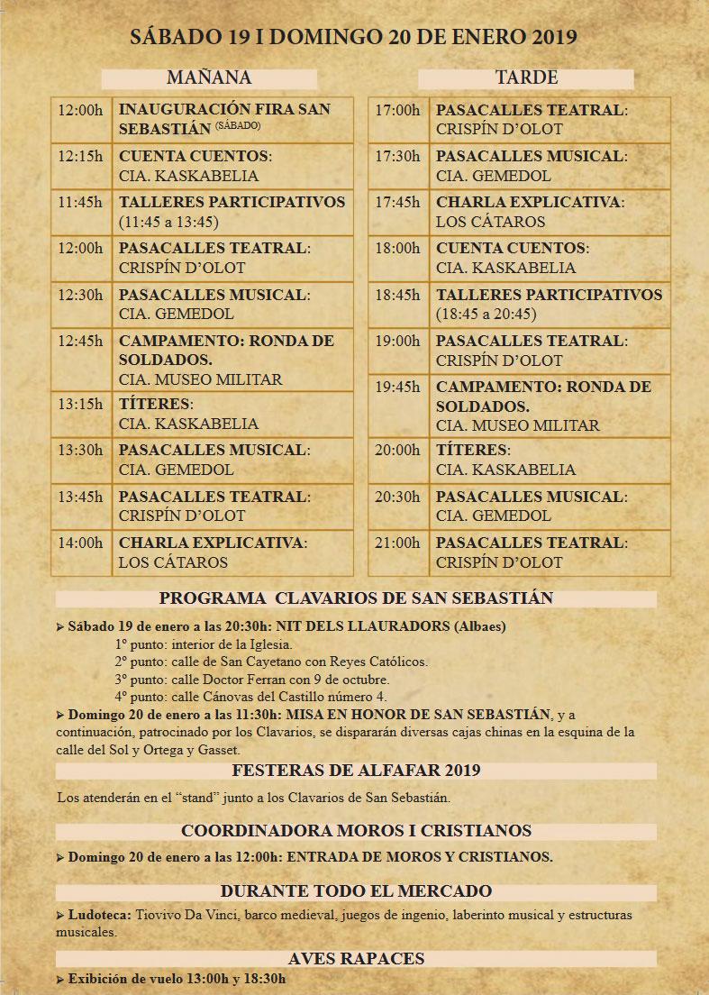 Feria Medieval de Alfafar: programme