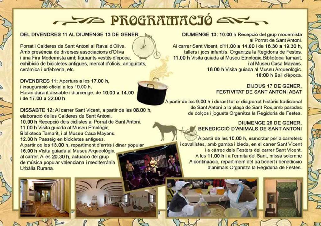 Feria modernista de Oliva: programa
