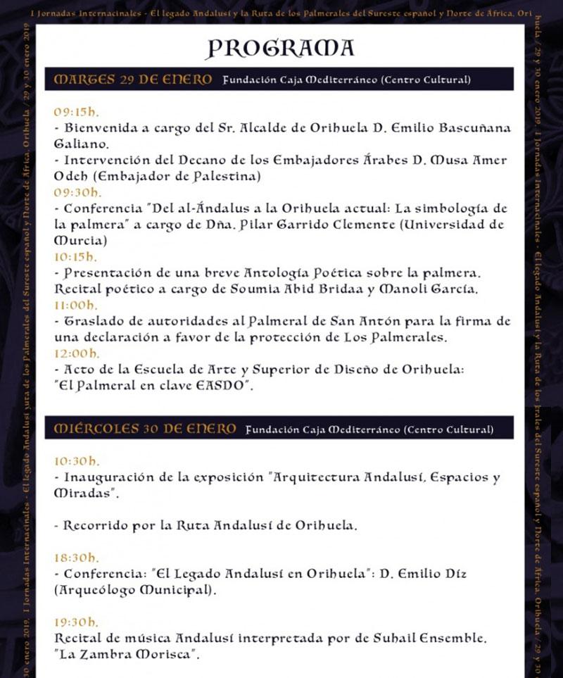 Jornadas internacionales sobre el Legado Andalusí: programme
