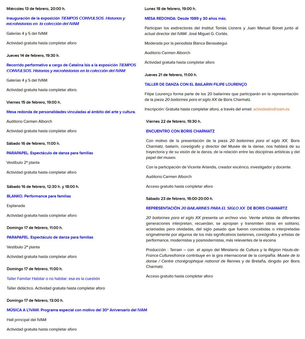 30 aniversario IVAM: programme