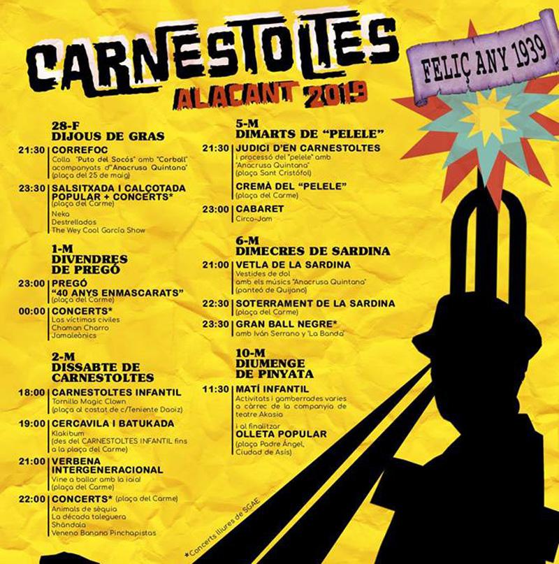 Carnaval 2019: programa Alicante