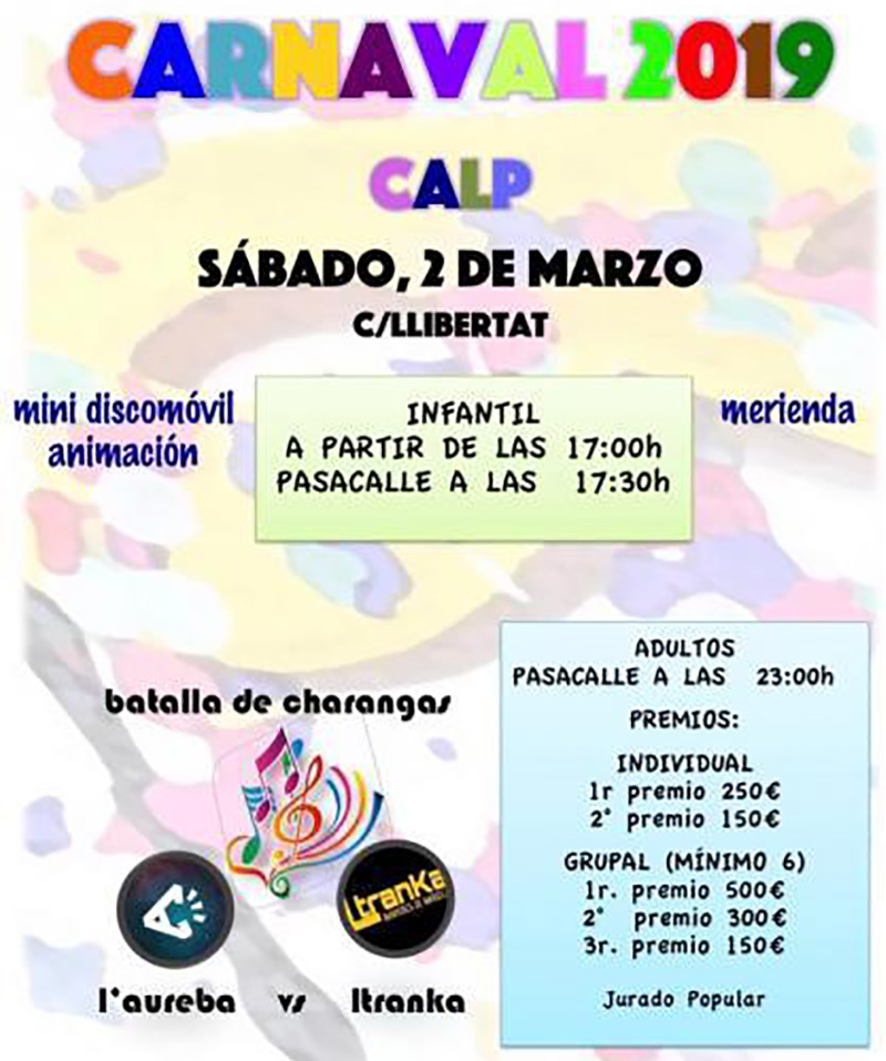 Carnaval 2019: Calpe programme