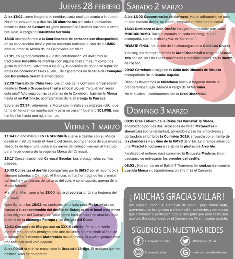 Carnaval 2019: Villar del Arzobispo programme