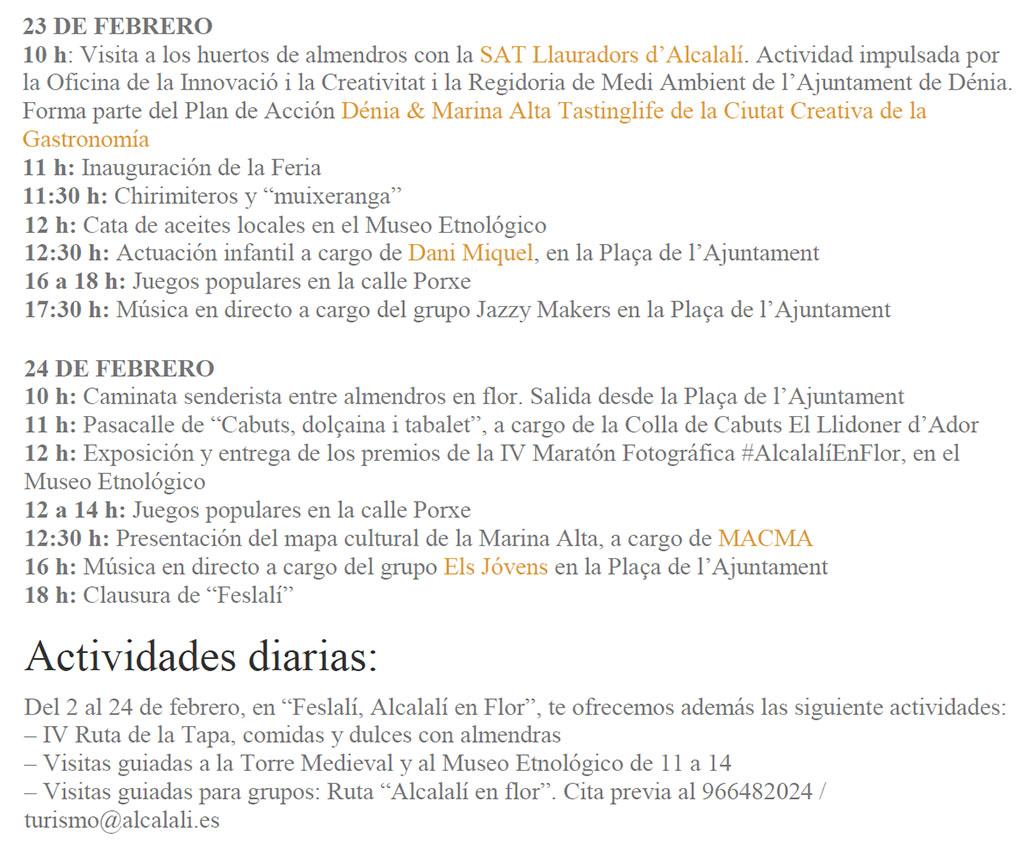 Feria de Oficios y Productos de la Tierra en Alcalalí: Программа