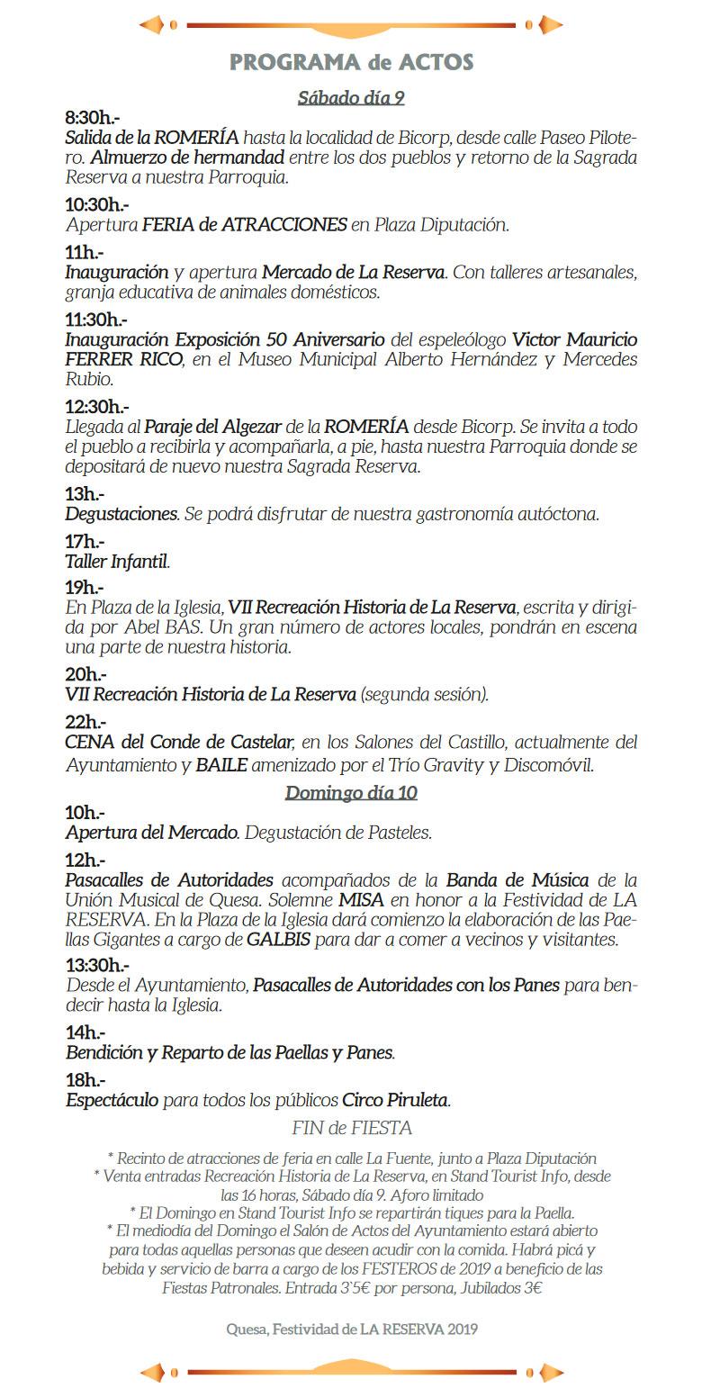 Fiesta de La Reserva en Quesa: programa 2019