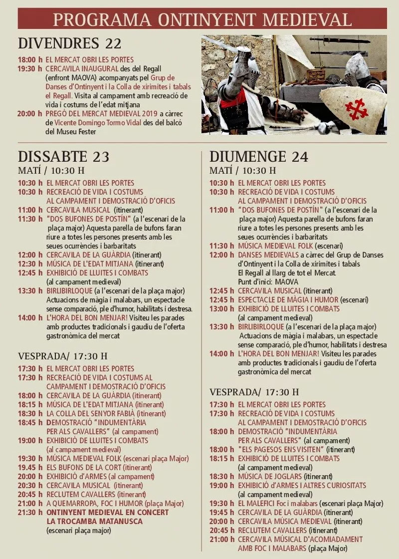 Ontinyent Medieval 2019: programme