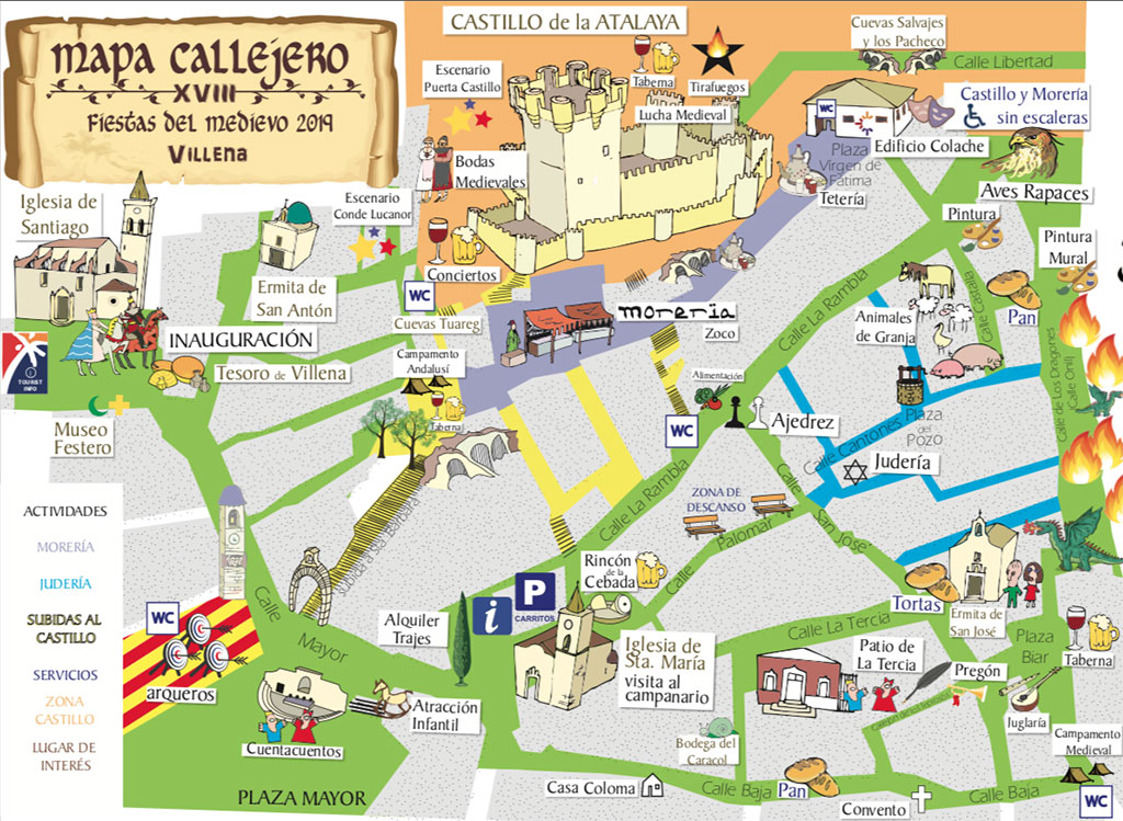 Fiestas del Medievo en Villena: mapa
