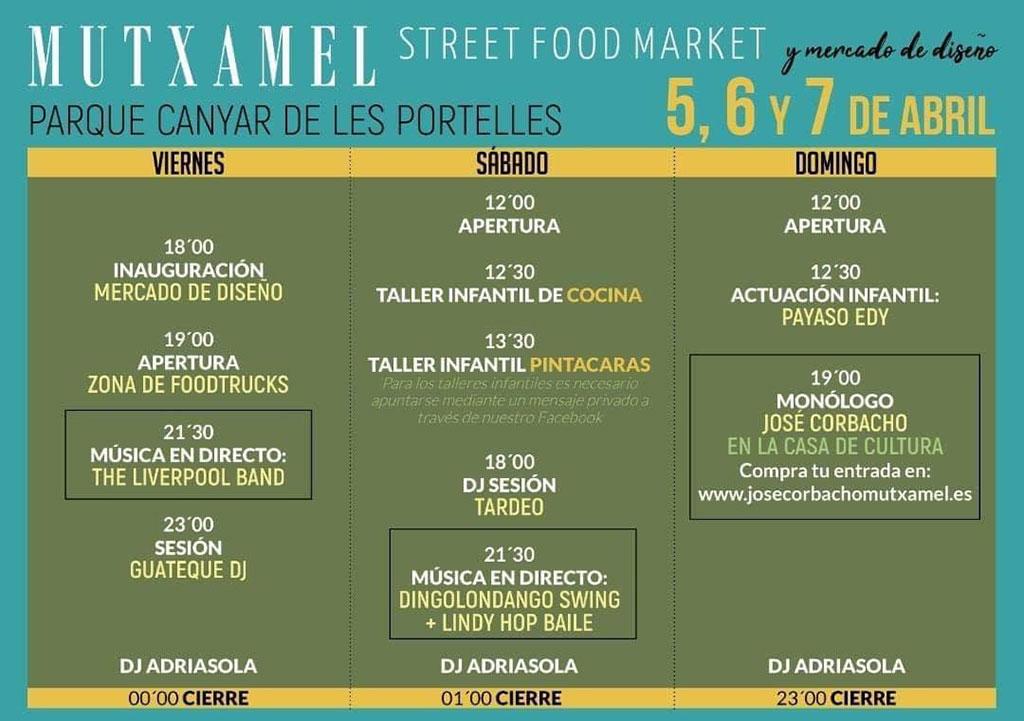 Street Food Market Mutxamel: programme 2019
