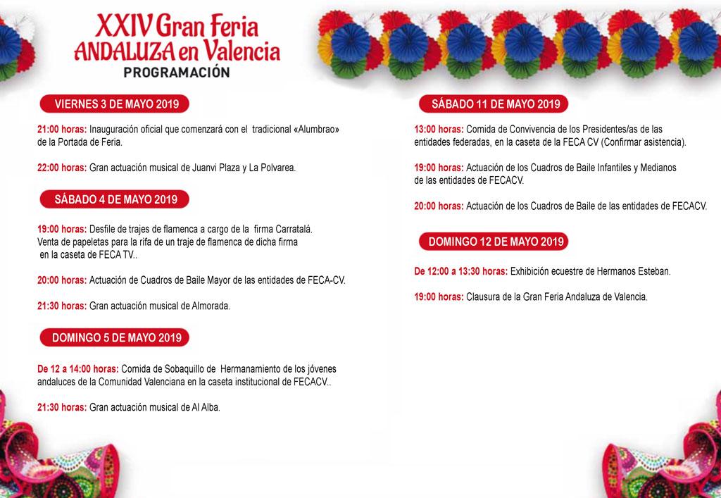Gran Feria Andaluza de Valencia 2019: programme