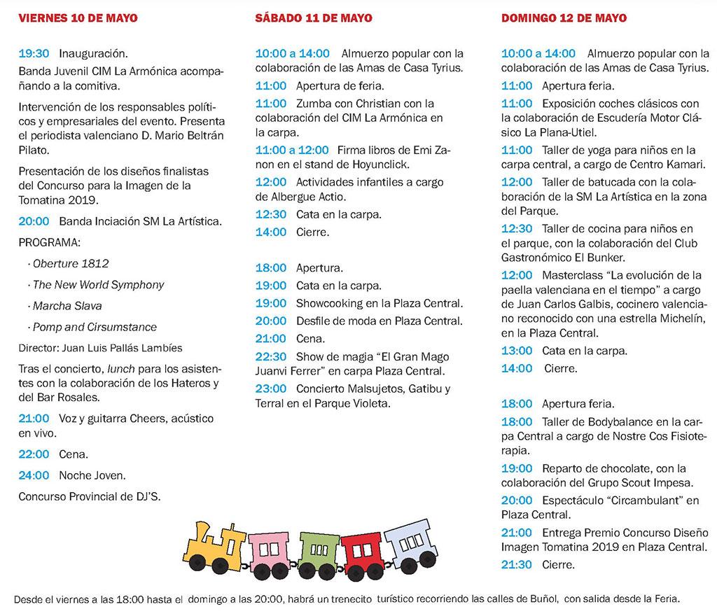 Feria del comercio y turismo de Buñol: programme