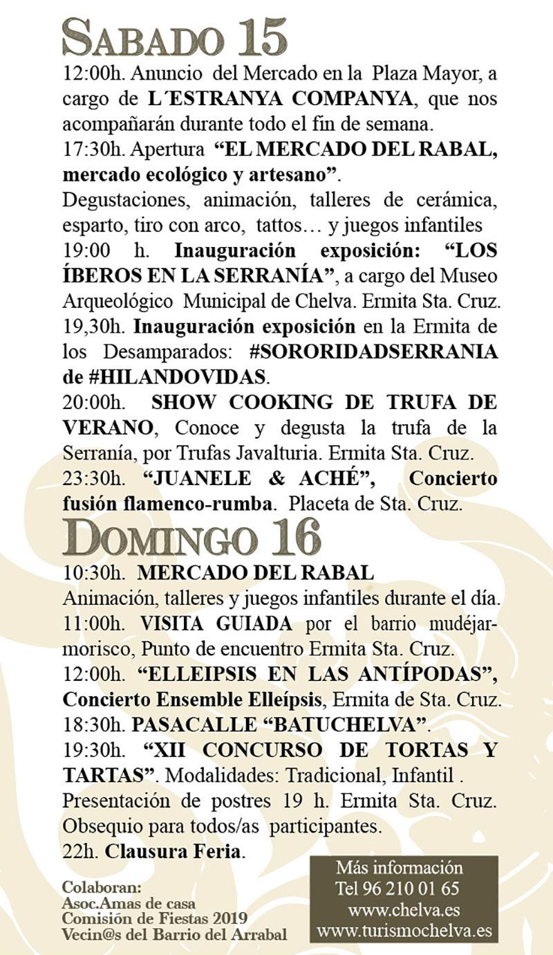 Arrabal Cultural Chelva 2019: programme