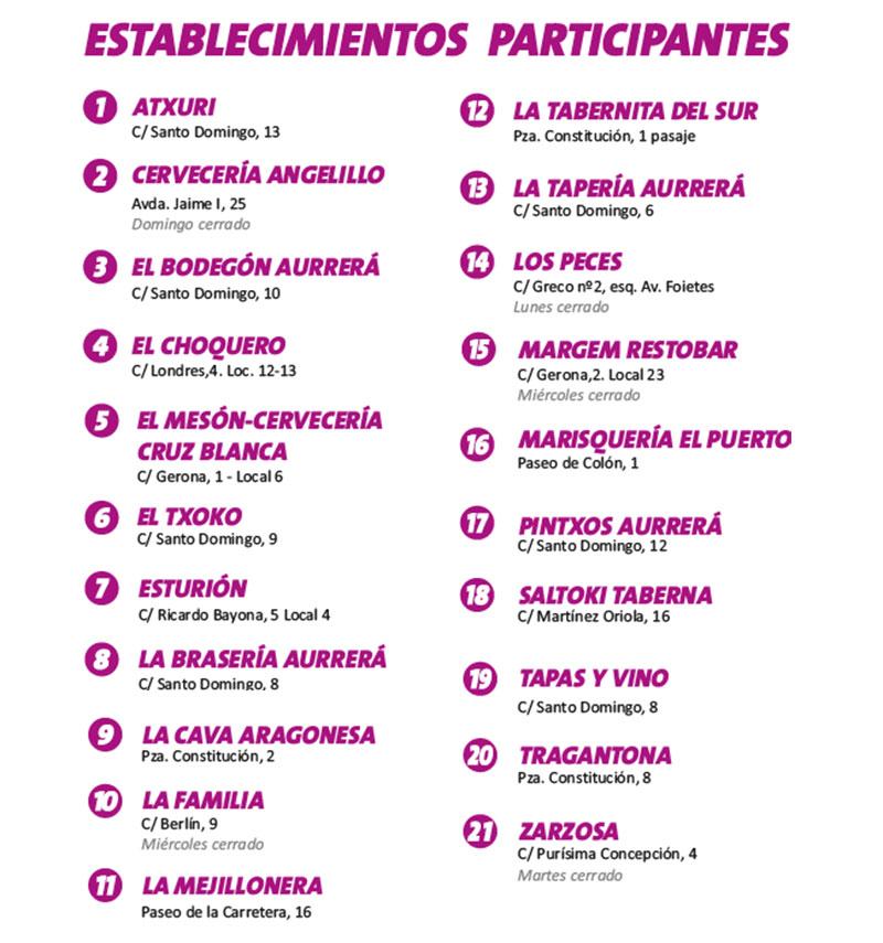 Concurso de Tapas y Pinchos Benidorm: establecimientos