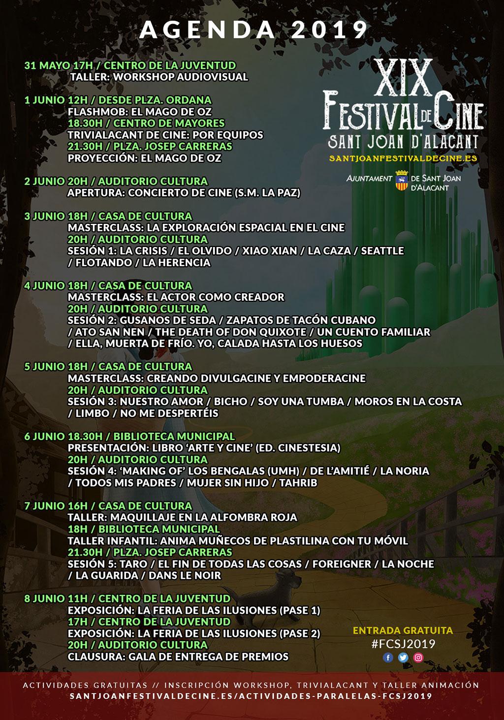 Festival de cine de Sant Joan de Alacant 2019: programa