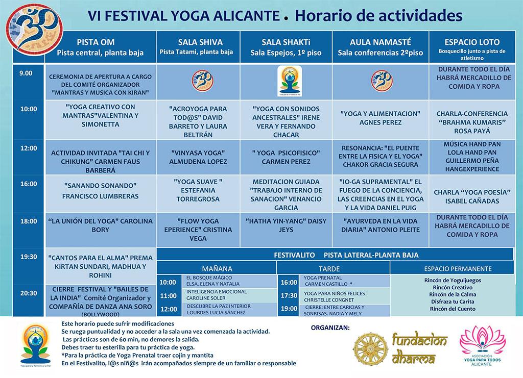 Festival de Yoga de Alicante 2019: programme