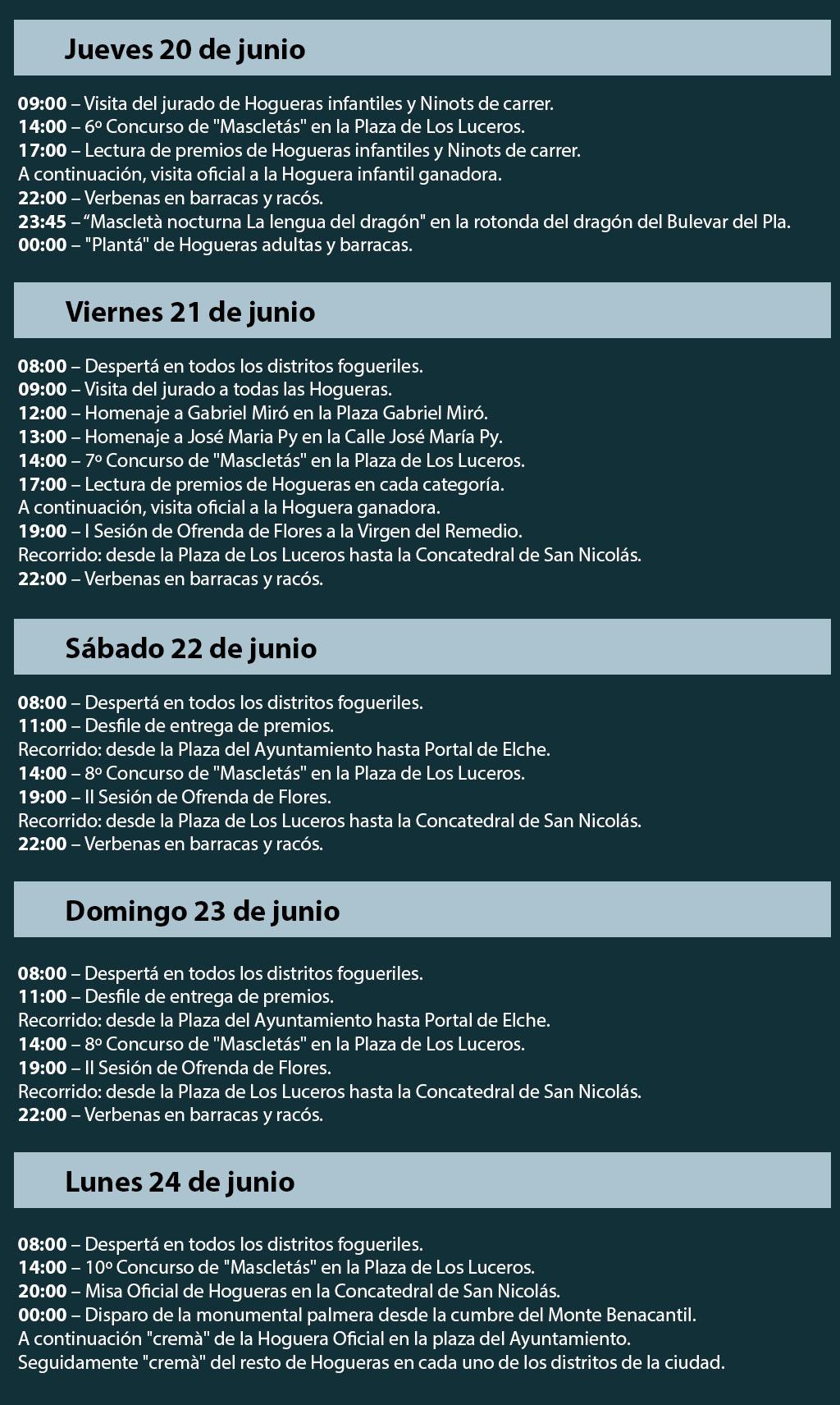 Hogueras de San Juan 2019: programa