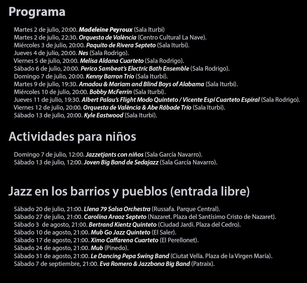 Festival de Jazz de Valencia 2019: programme