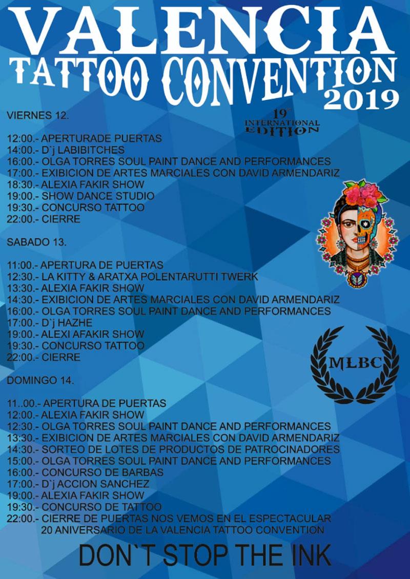 Valencia Tattoo Convention 2019: Программа