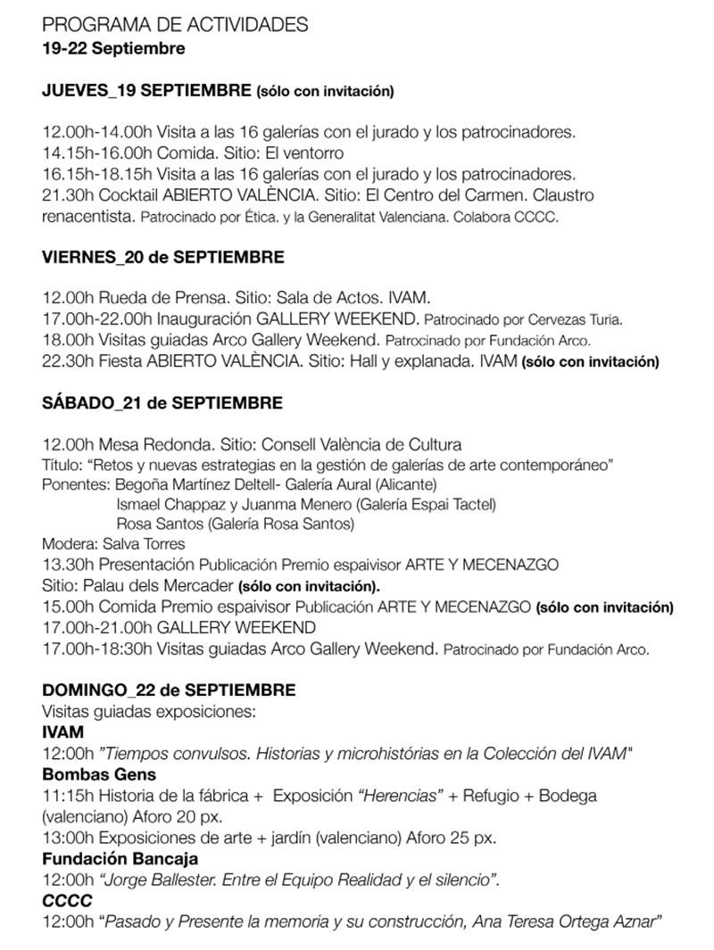 Abierto Valencia 2019: Программа