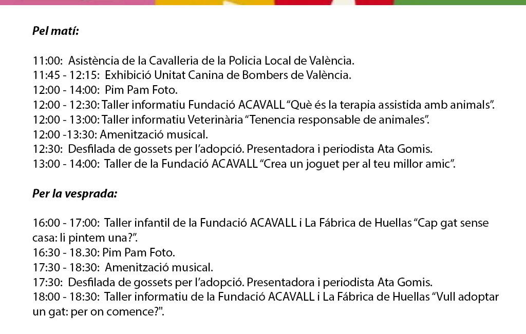 Feria Animalista de Valencia 2019: programme