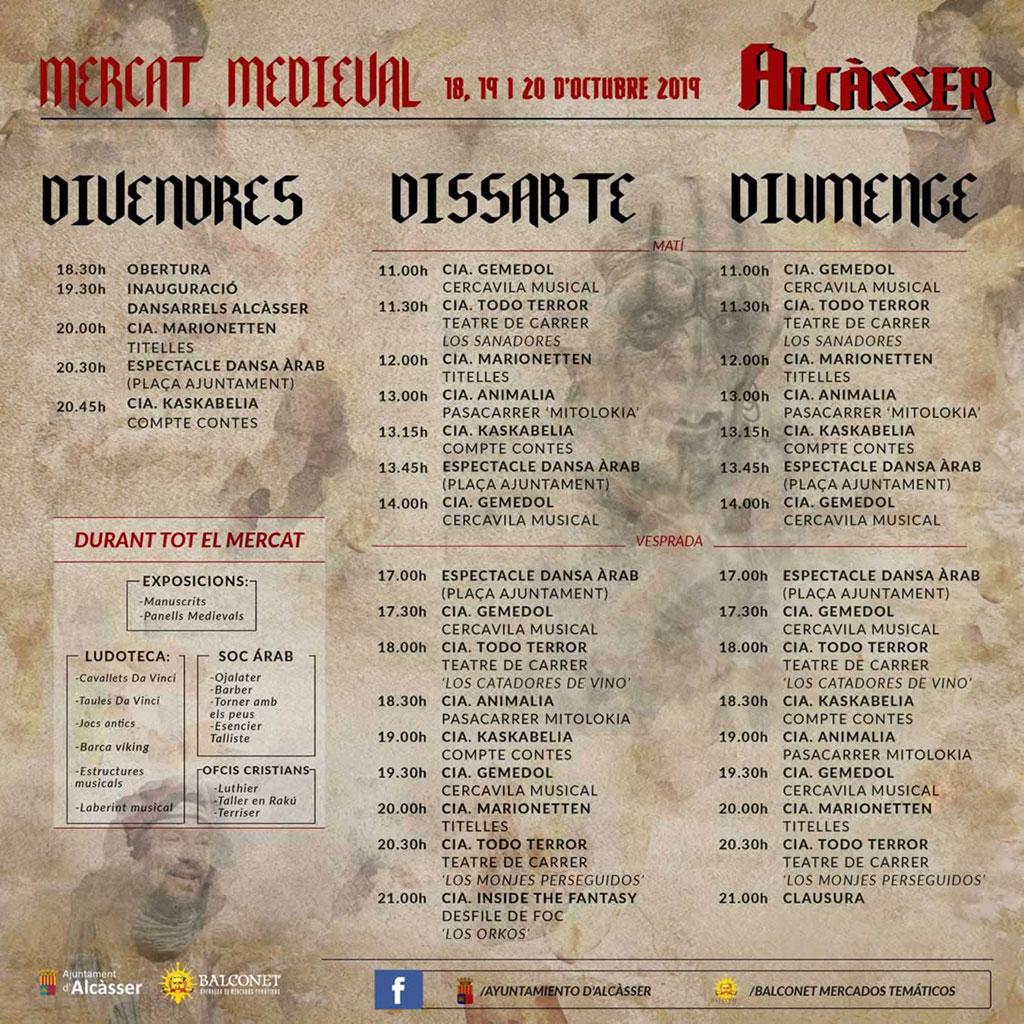 Mercat medieval de Alcàsser: programme