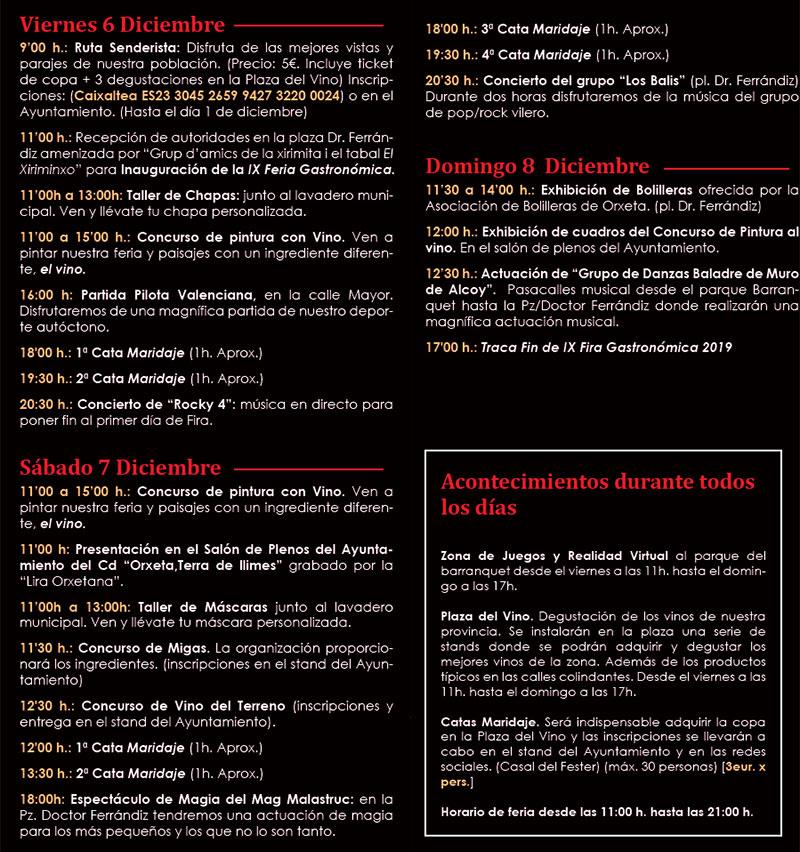 Feria Gastronómica Orxeta 2019: programme