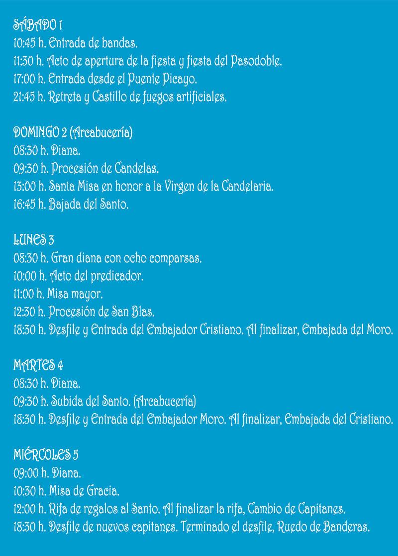 Fiestas de Moros y Cristianos de Sax 2020: programa