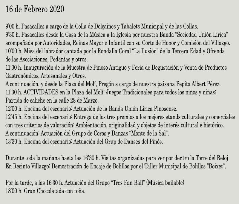 Día del Villazgo Pinoso 2020: programme