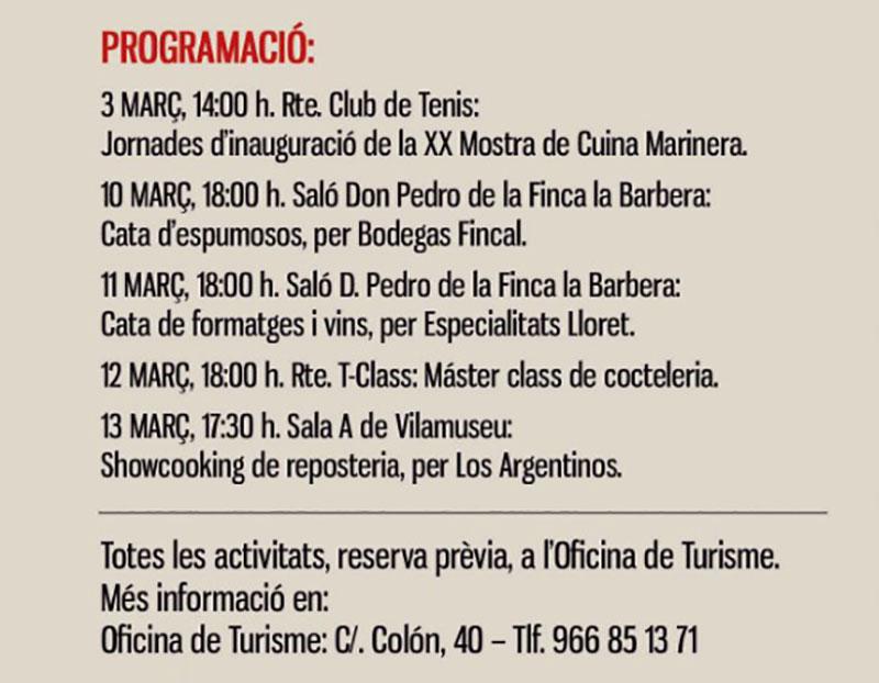 XX Mostra Cuina Marinera Villajoyosa: Programme