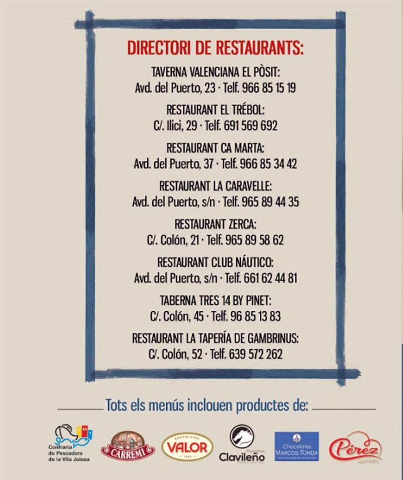 XX Mostra Cuina Marinera Villajoyosa: restaurants