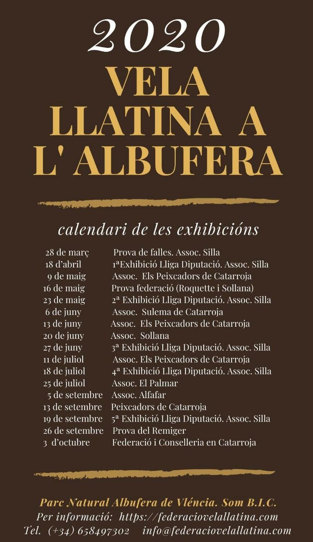 Exhibiciones de Vela Latina 2020 en la Albufera: calendar