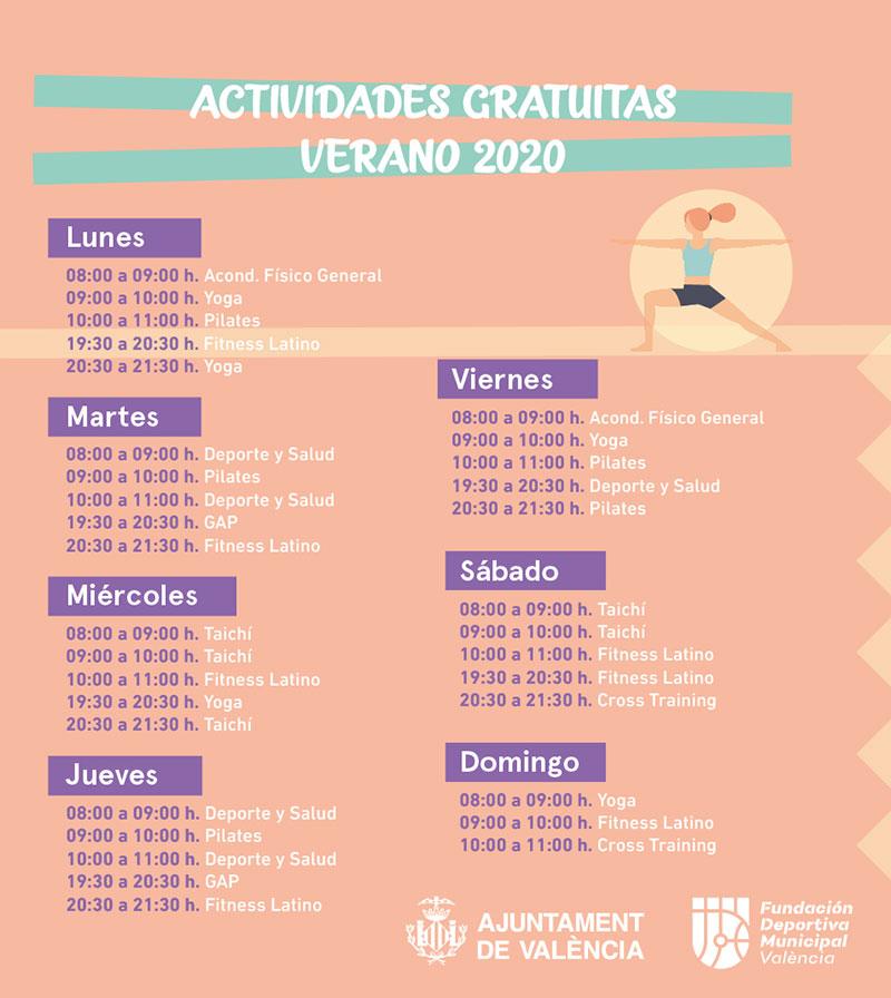 Actividades deportivas playa Valencia: programa