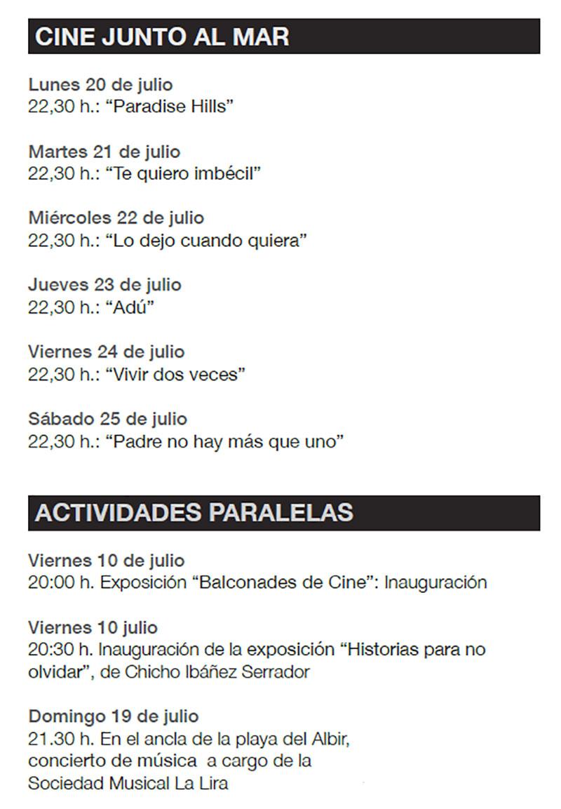 Festival de Cine Alfàs del Pi 2020: Activities