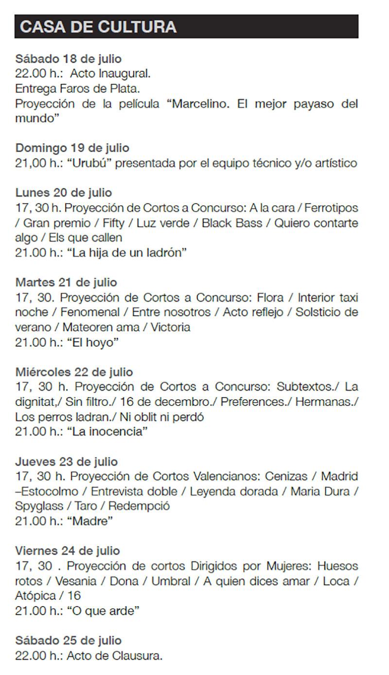 Festival de Cine Alfàs del Pi 2020: programme