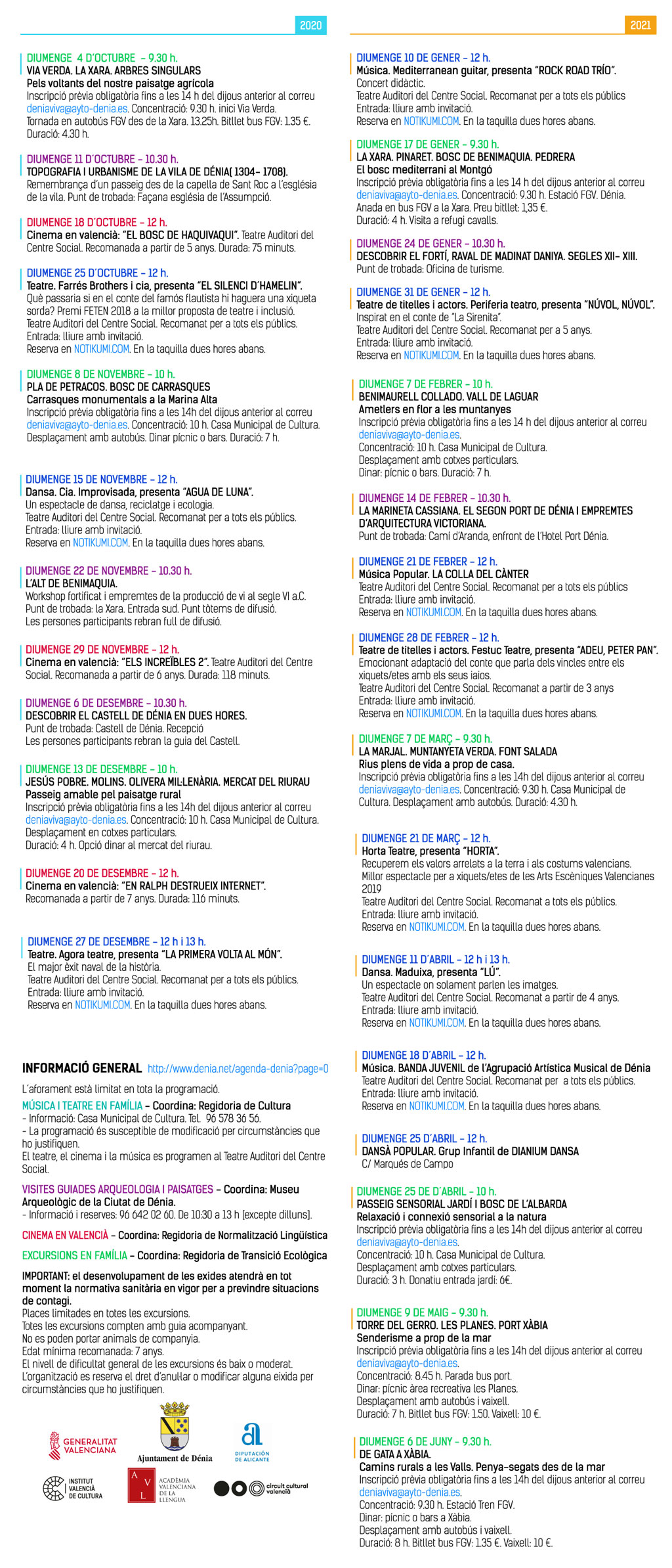 Family activities in Denia: programme