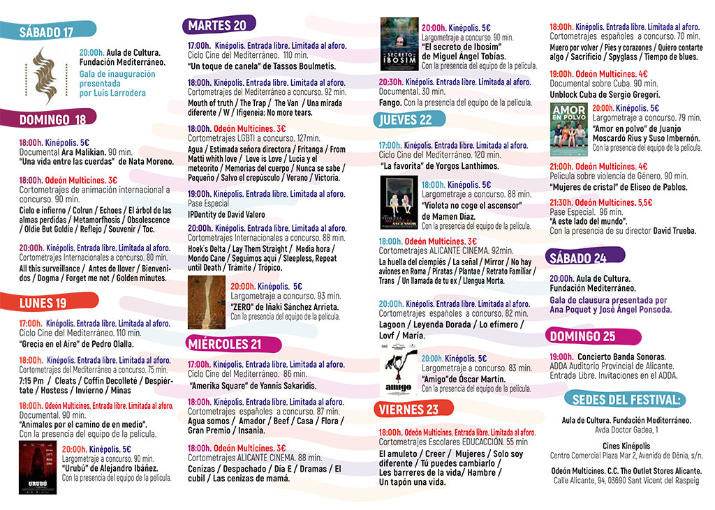 Festival Internacional de Cine de Alicante 2020: Программа