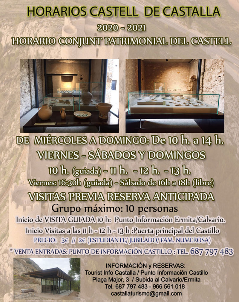 Castalla Castle guided tours: timetable